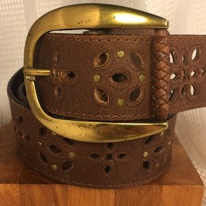 Genuine leather laced/studded pattern, never worn